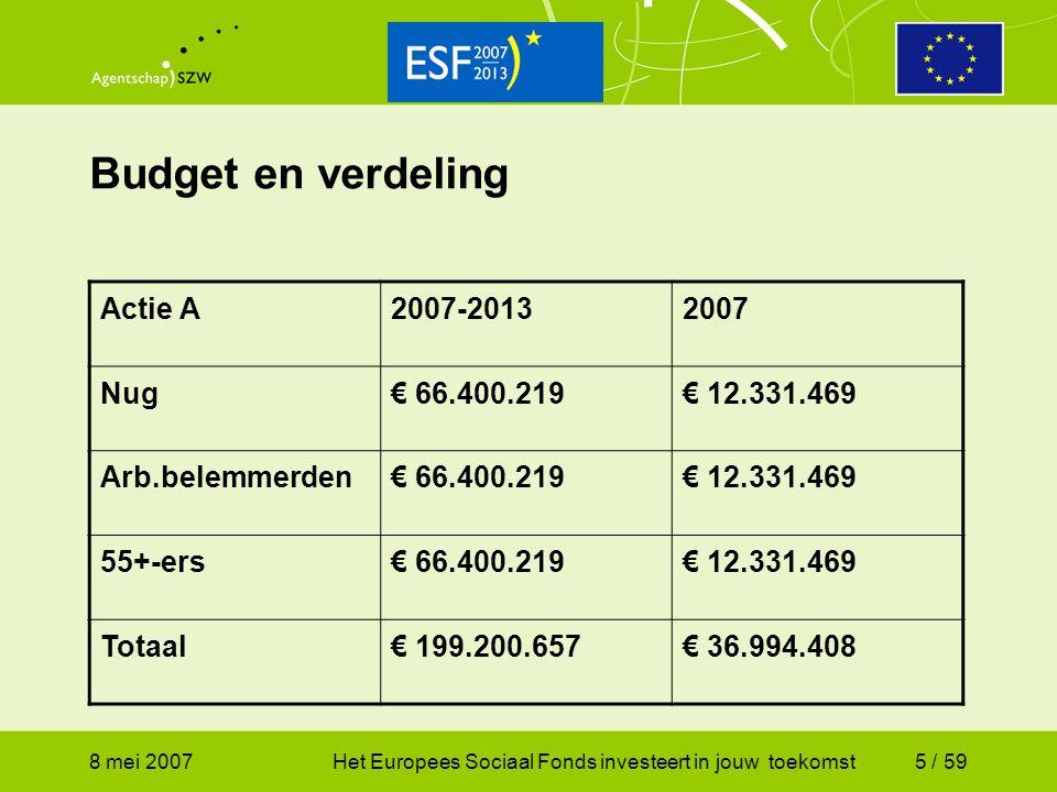 8 mei 2007Het Europees Sociaal Fonds investeert in jouw toekomst6 / 59 Onvolledige benutting deelbudget Als na afloop van het aanvraagtijdvak sprake blijkt te zijn van onvolledige benutting van het budget bij een of meer doelgroepen mag als het totaal bedrag aan subsidieaanvragen van de andere doelgroep(en) het beschikbare bedrag overschrijdt het niet benutte deel ingezet worden voor deze doelgroep(en).