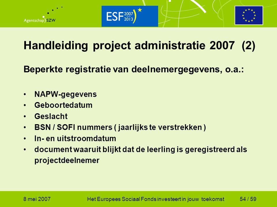 8 mei 2007Het Europees Sociaal Fonds investeert in jouw toekomst54 / 59 Handleiding project administratie 2007 (2) Beperkte registratie van deelnemerg