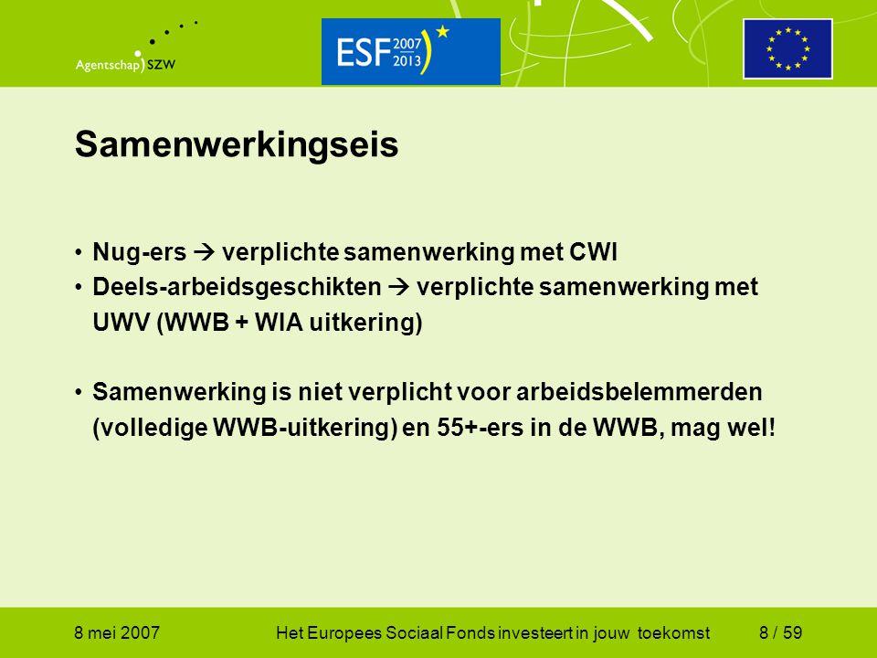 8 mei 2007Het Europees Sociaal Fonds investeert in jouw toekomst49 / 59 Regeling ESF 2007 – 2013 (3) Niet-subsidiabele kosten (niet limitatief): - Kosten in strijd met Implementatieverordening; -Onredelijk gemaakte kosten (naar oordeel van de minister); -Kosten die niet passen bij beoogde projectdoelstelling; -Inkomensvervangende betalingen of uitkeringen, niet zijnde loonbetalingen; -Kosten van werkervaringsplaatsen en dienstbetrekkingen aangegaan of bekostigd i.h.k.v.