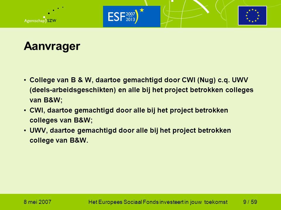 8 mei 2007Het Europees Sociaal Fonds investeert in jouw toekomst9 / 59 Aanvrager College van B & W, daartoe gemachtigd door CWI (Nug) c.q. UWV (deels-