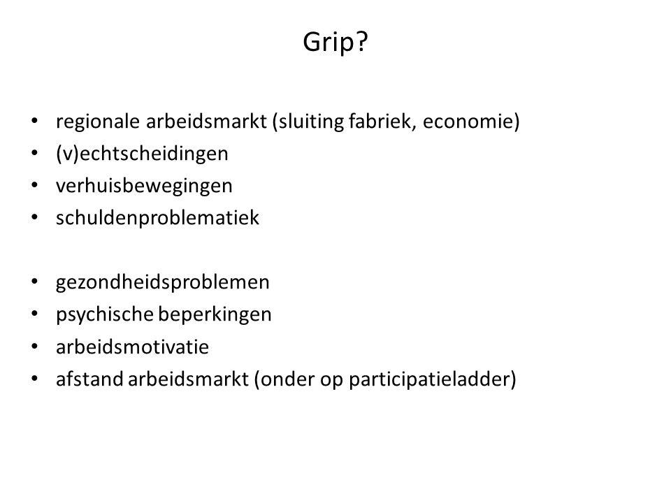 Grip? regionale arbeidsmarkt (sluiting fabriek, economie) (v)echtscheidingen verhuisbewegingen schuldenproblematiek gezondheidsproblemen psychische be