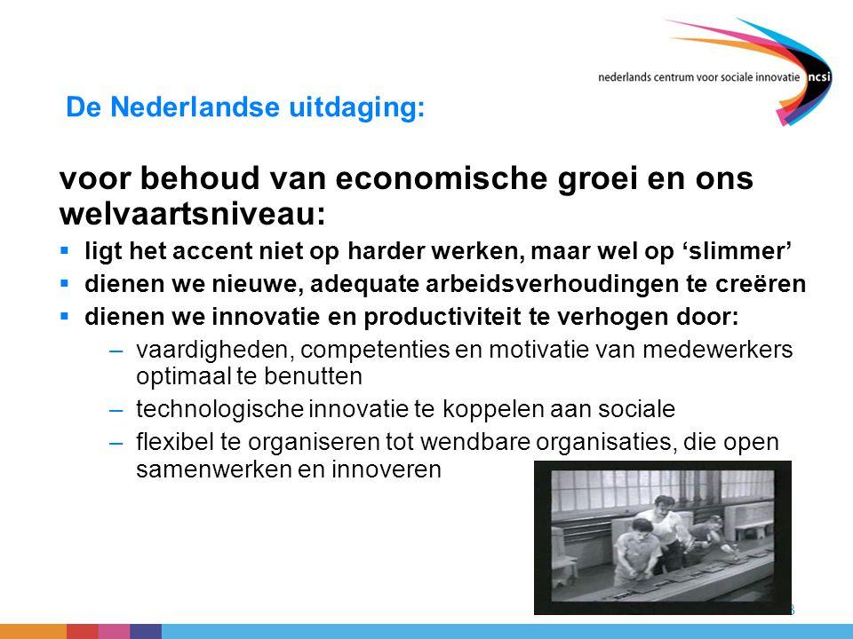 13 De Nederlandse uitdaging: voor behoud van economische groei en ons welvaartsniveau:  ligt het accent niet op harder werken, maar wel op 'slimmer'