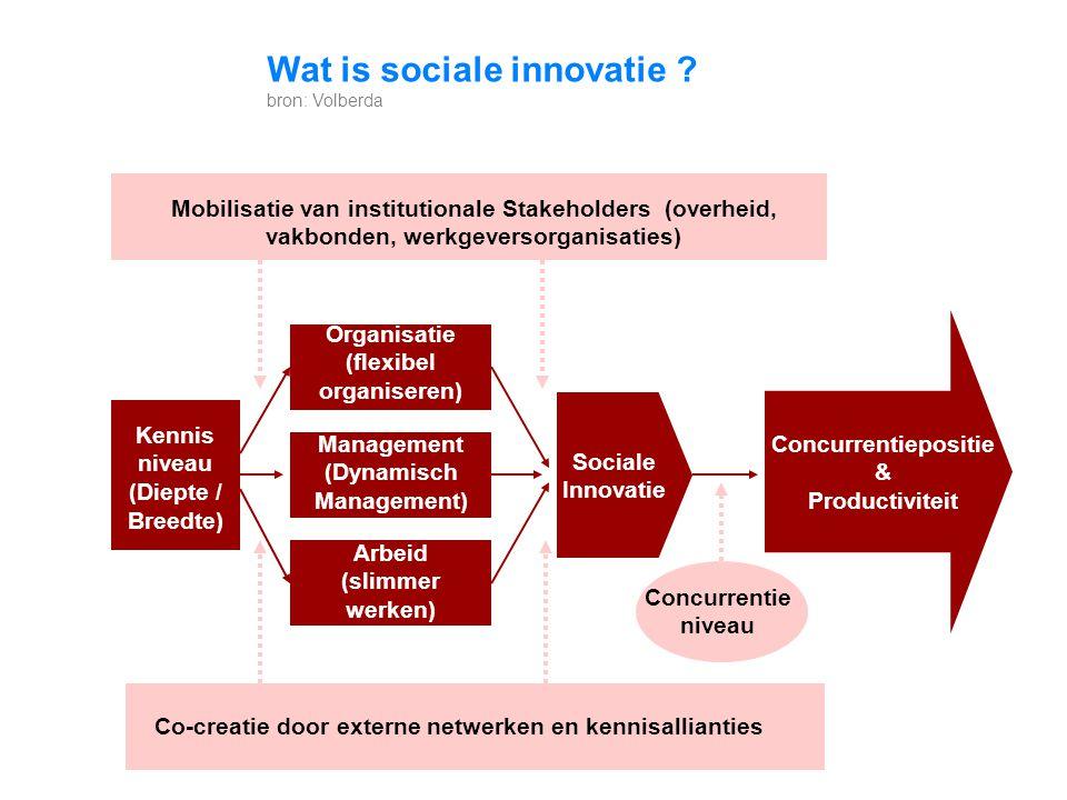 Kennis niveau (Diepte / Breedte) Organisatie (flexibel organiseren) Management (Dynamisch Management) Arbeid (slimmer werken) Concurrentiepositie & Pr
