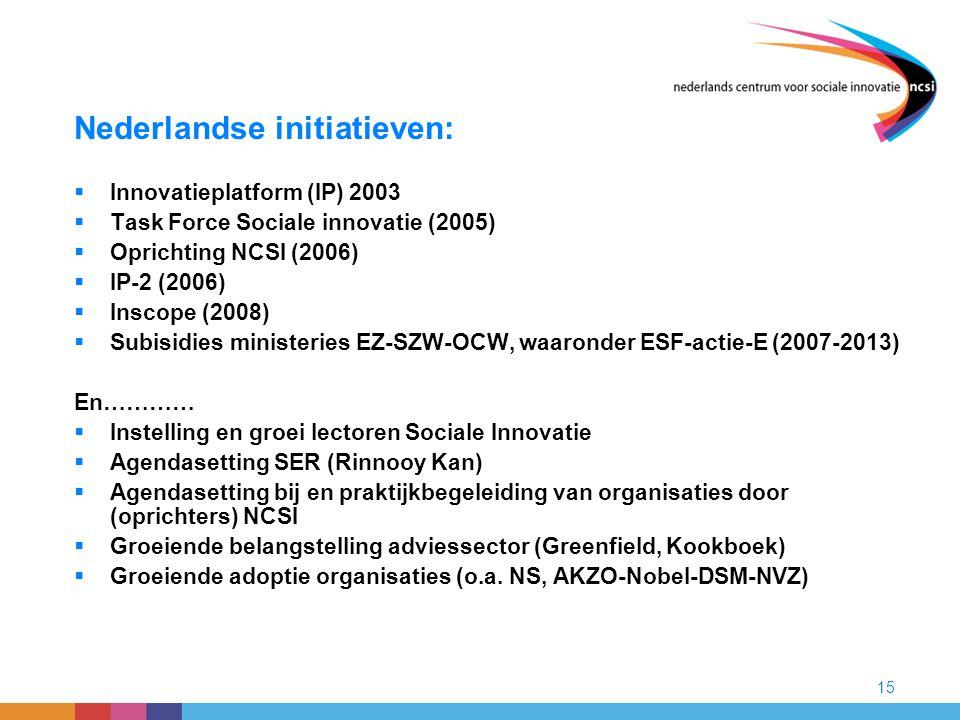 15 Nederlandse initiatieven:  Innovatieplatform (IP) 2003  Task Force Sociale innovatie (2005)  Oprichting NCSI (2006)  IP-2 (2006)  Inscope (200