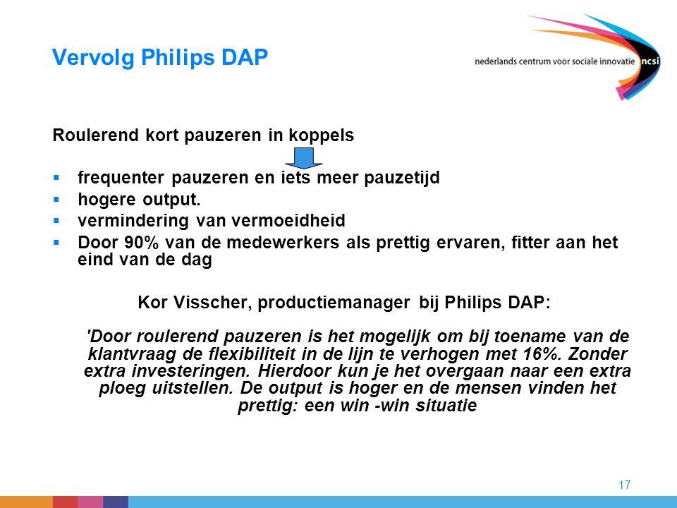 17 Vervolg Philips DAP Roulerend kort pauzeren in koppels  frequenter pauzeren en iets meer pauzetijd  hogere output.  vermindering van vermoeidhei