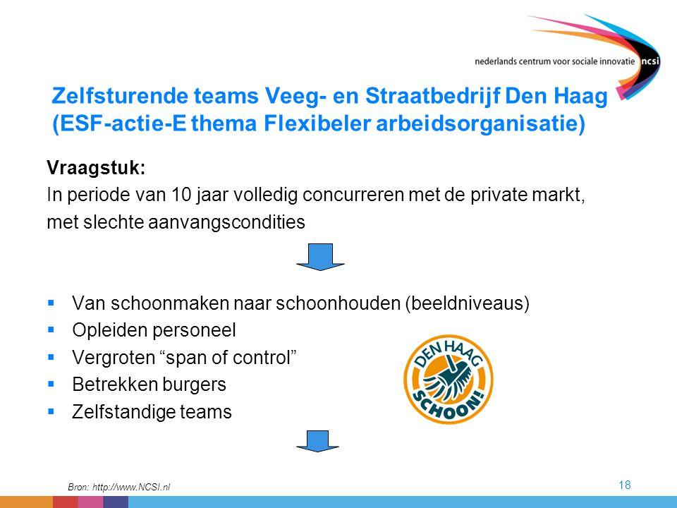 18 Zelfsturende teams Veeg- en Straatbedrijf Den Haag (ESF-actie-E thema Flexibeler arbeidsorganisatie) Vraagstuk: In periode van 10 jaar volledig con