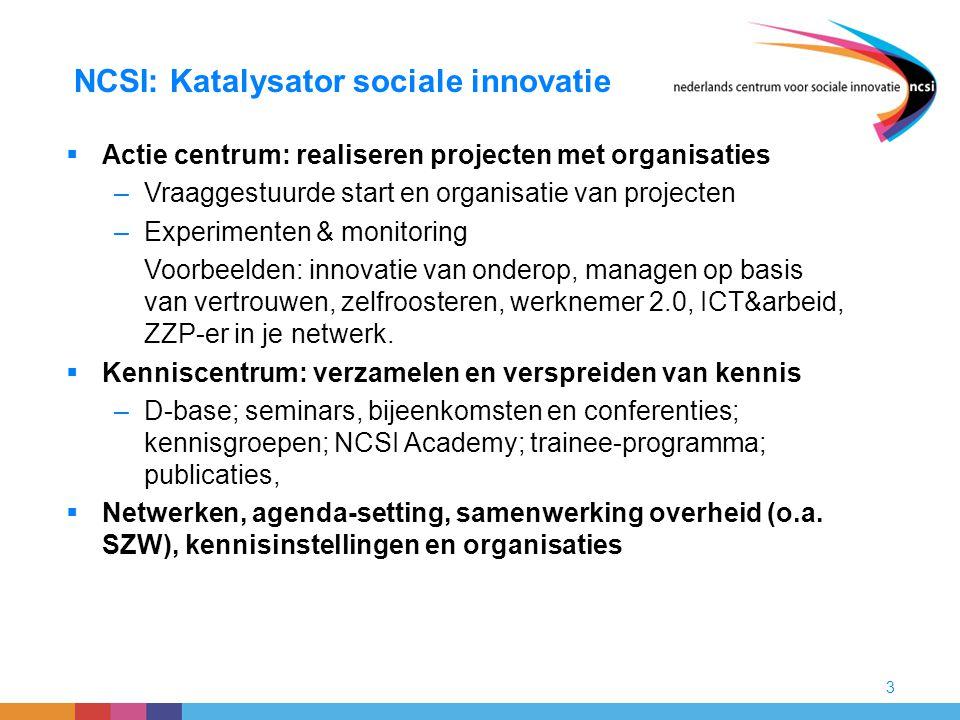 3 NCSI: Katalysator sociale innovatie  Actie centrum: realiseren projecten met organisaties –Vraaggestuurde start en organisatie van projecten –Exper