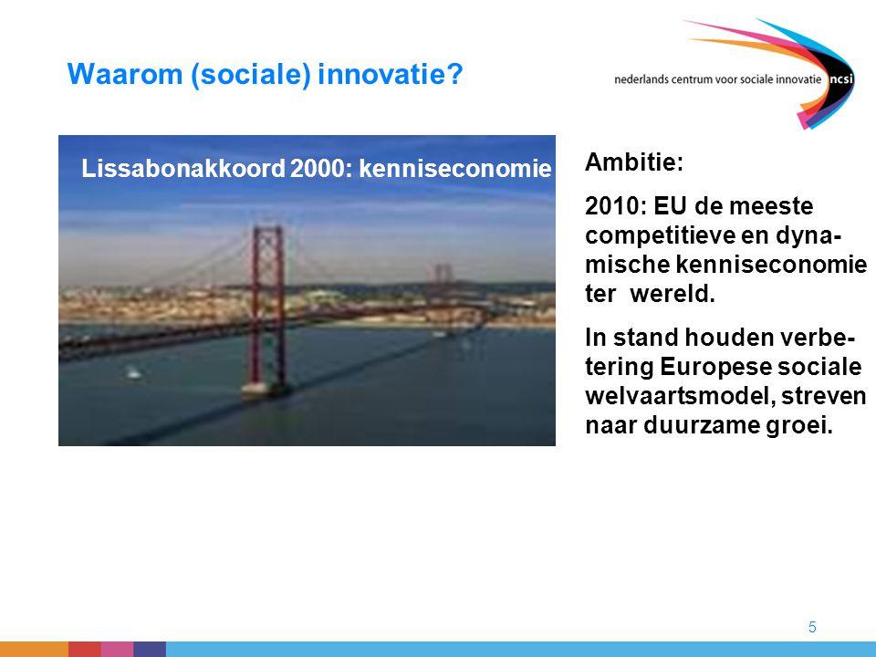 5 Waarom (sociale) innovatie? Lissabonakkoord 2000: kenniseconomie Ambitie: 2010: EU de meeste competitieve en dyna- mische kenniseconomie ter wereld.