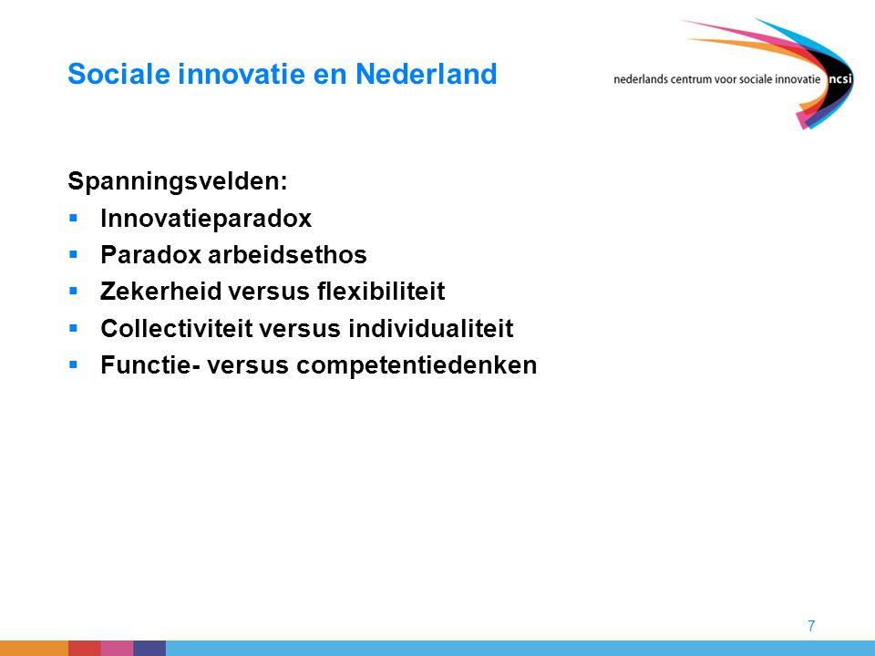 7 Sociale innovatie en Nederland Spanningsvelden:  Innovatieparadox  Paradox arbeidsethos  Zekerheid versus flexibiliteit  Collectiviteit versus i