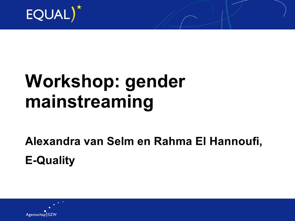 Begrippen: 'gender' en 'mainstreaming' Gender ≠ sekse Gender = de sociale en culturele verschillen Mainstreaming = continue strategie