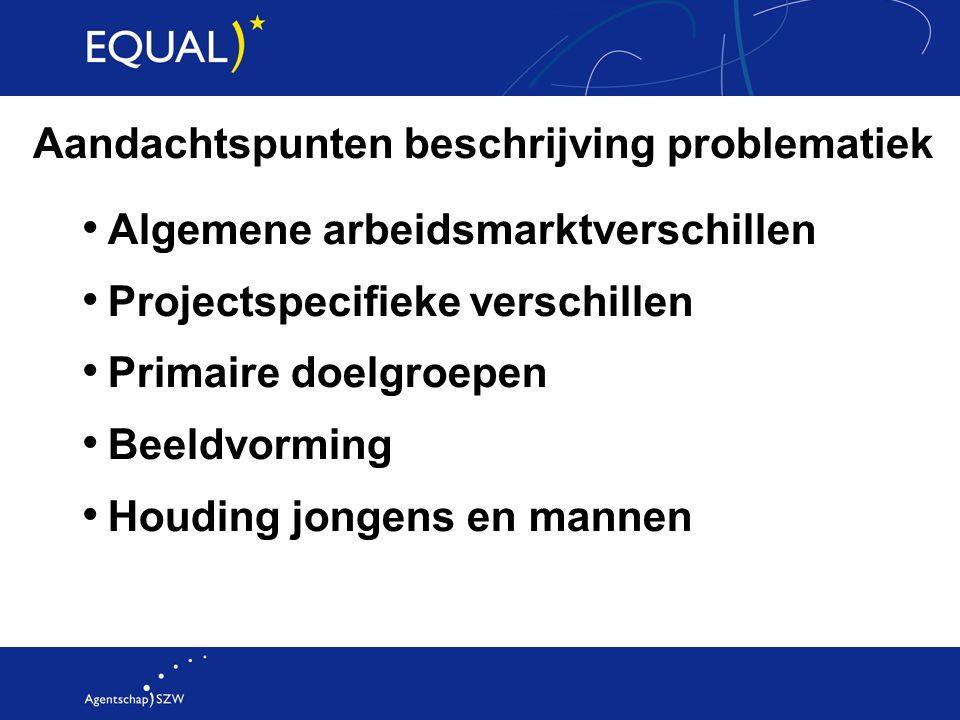 Aandachtspunten beschrijving problematiek Algemene arbeidsmarktverschillen Projectspecifieke verschillen Primaire doelgroepen Beeldvorming Houding jon