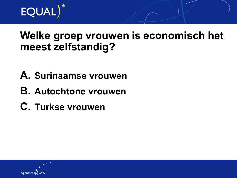 Welke groep vrouwen is economisch het meest zelfstandig? A. Surinaamse vrouwen B. Autochtone vrouwen C. Turkse vrouwen