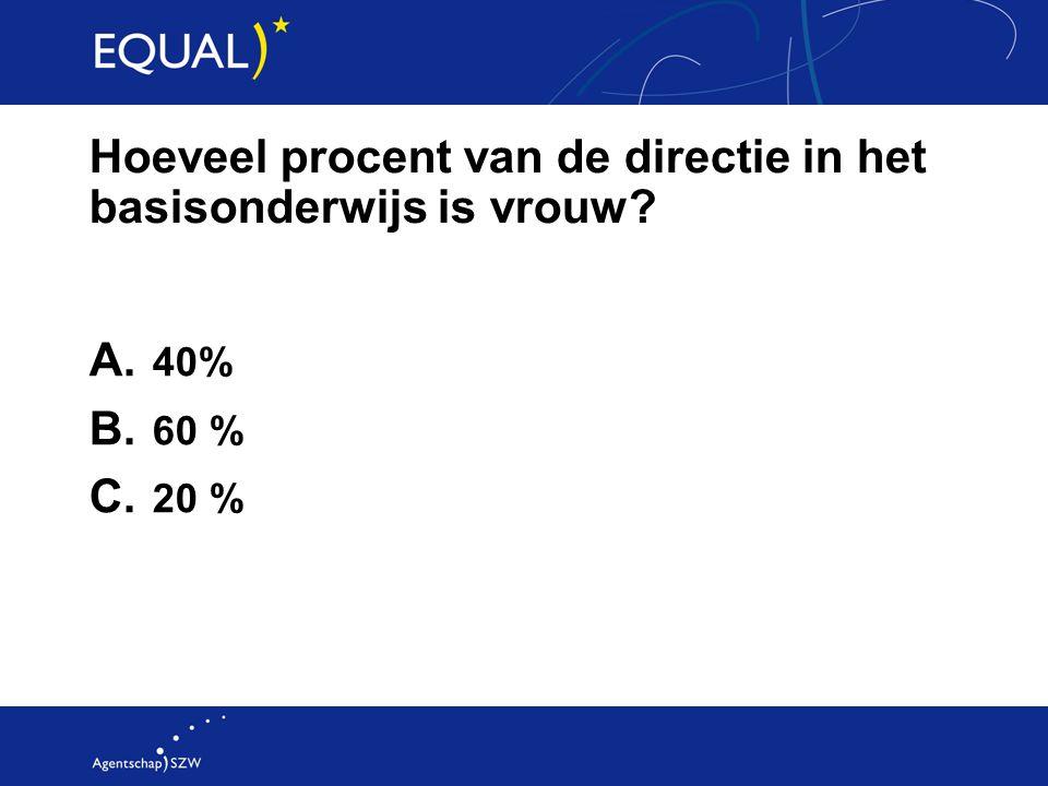 Hoeveel procent van de directie in het basisonderwijs is vrouw? A. 40% B. 60 % C. 20 %