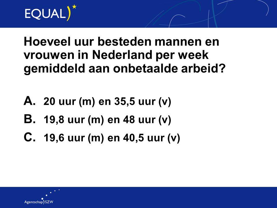 Hoeveel uur besteden mannen en vrouwen in Nederland per week gemiddeld aan onbetaalde arbeid? A. 20 uur (m) en 35,5 uur (v) B. 19,8 uur (m) en 48 uur
