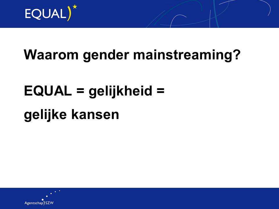 Waarom gender mainstreaming? EQUAL = gelijkheid = gelijke kansen
