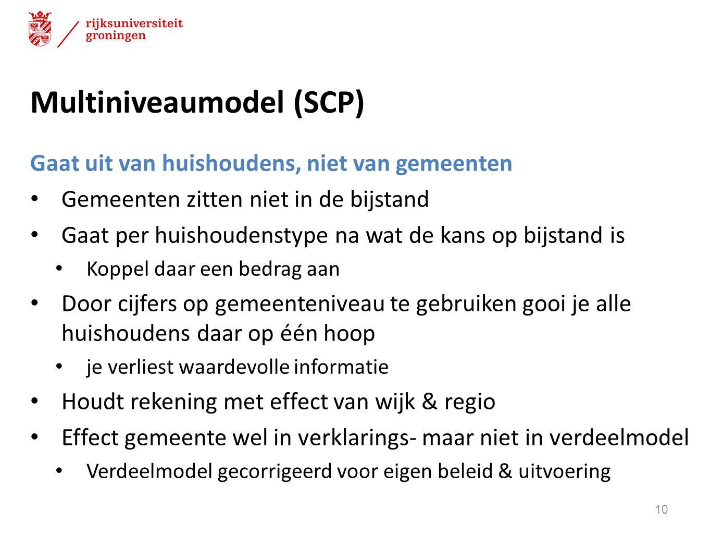 Multiniveaumodel (SCP) Gaat uit van huishoudens, niet van gemeenten Gemeenten zitten niet in de bijstand Gaat per huishoudenstype na wat de kans op bi