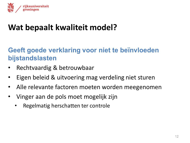 Wat bepaalt kwaliteit model? Geeft goede verklaring voor niet te beïnvloeden bijstandslasten Rechtvaardig & betrouwbaar Eigen beleid & uitvoering mag