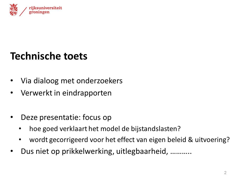 Technische toets Via dialoog met onderzoekers Verwerkt in eindrapporten Deze presentatie: focus op hoe goed verklaart het model de bijstandslasten? wo