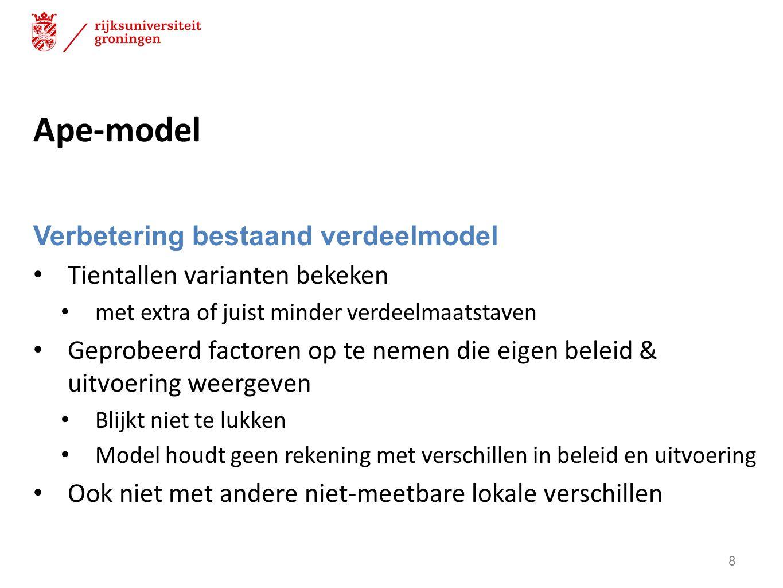 Trendmodel (SEO) Corrigeert voor onmeetbare factoren Maar dan moeten die wel onveranderlijk zijn bijvoorbeeld ligging, cultuur of langjarig beleid Dit kan door alleen naar veranderingen te kijken factor X verandert – wat gebeurt er met de bijstandslasten.