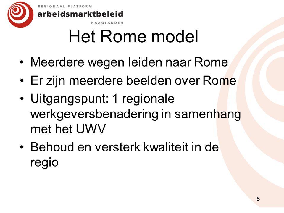 Het Rome model Meerdere wegen leiden naar Rome Er zijn meerdere beelden over Rome Uitgangspunt: 1 regionale werkgeversbenadering in samenhang met het