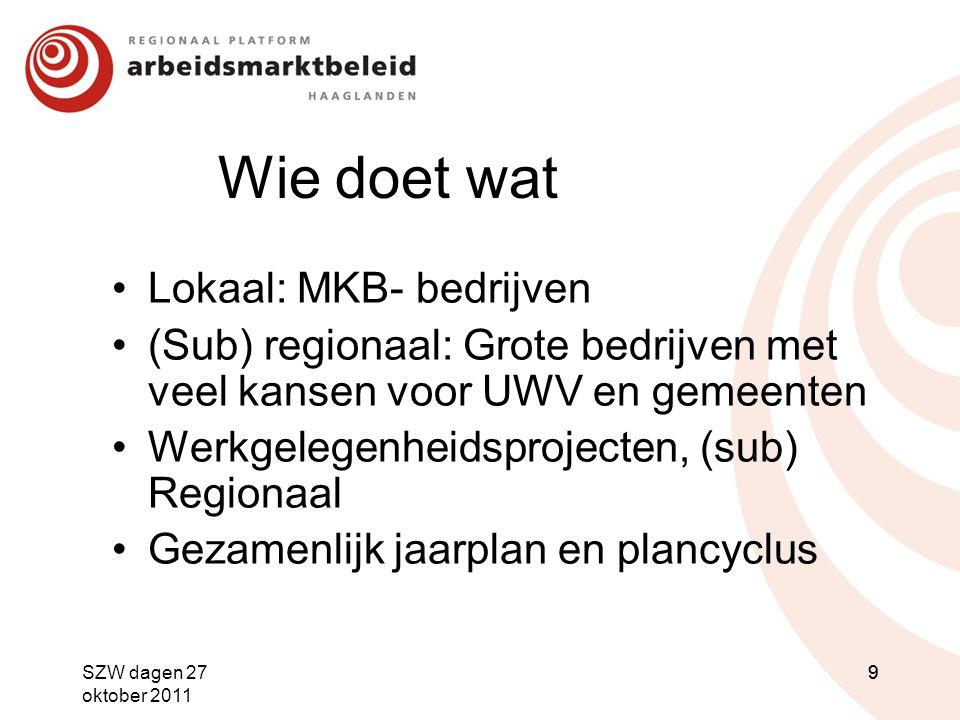 Wie doet wat Lokaal: MKB- bedrijven (Sub) regionaal: Grote bedrijven met veel kansen voor UWV en gemeenten Werkgelegenheidsprojecten, (sub) Regionaal
