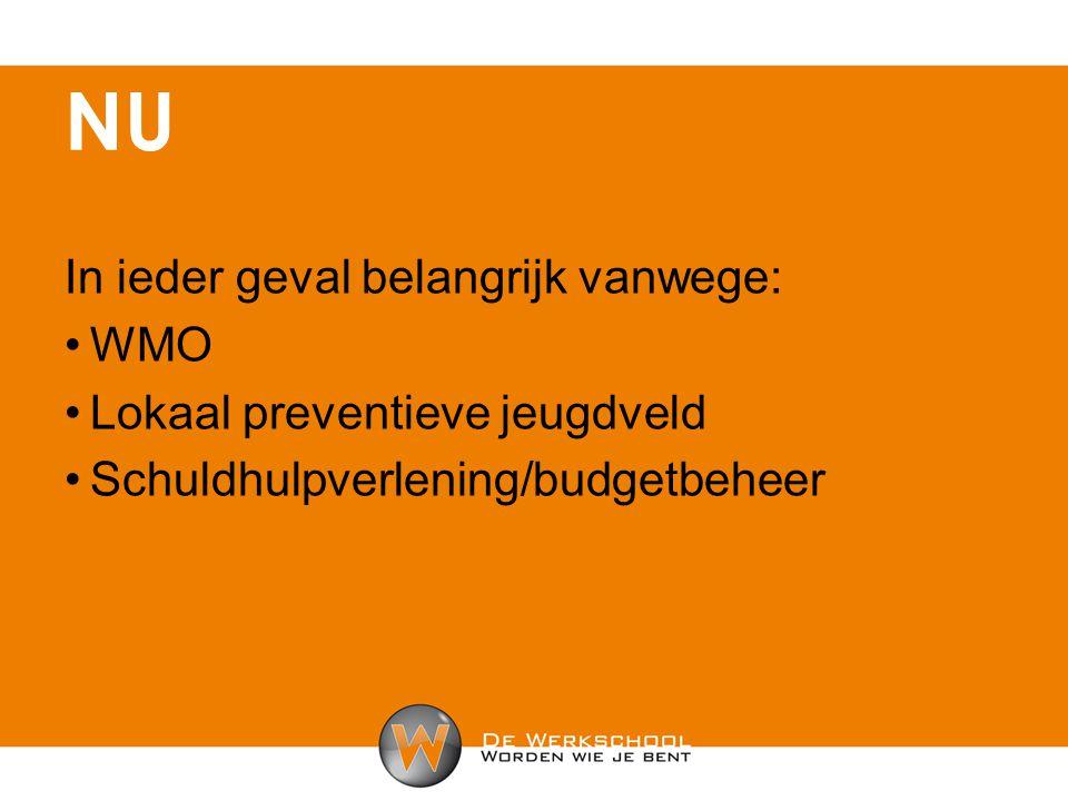 In ieder geval belangrijk vanwege: WMO Lokaal preventieve jeugdveld Schuldhulpverlening/budgetbeheer NU