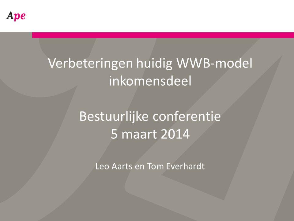 Verbeteringen huidig WWB-model inkomensdeel Bestuurlijke conferentie 5 maart 2014 Leo Aarts en Tom Everhardt