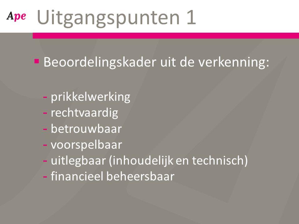 Uitgangspunten 1  Beoordelingskader uit de verkenning: -prikkelwerking -rechtvaardig -betrouwbaar -voorspelbaar -uitlegbaar (inhoudelijk en technisch) -financieel beheersbaar