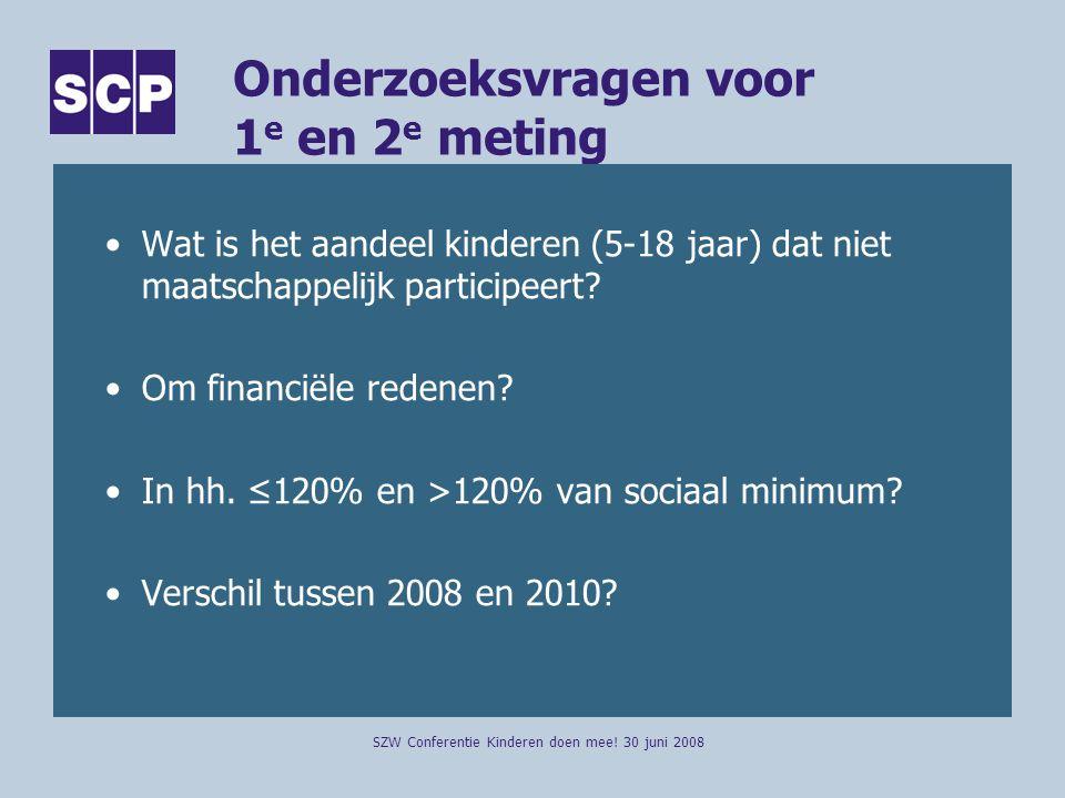 Onderzoeksvragen voor 1 e en 2 e meting Wat is het aandeel kinderen (5-18 jaar) dat niet maatschappelijk participeert.