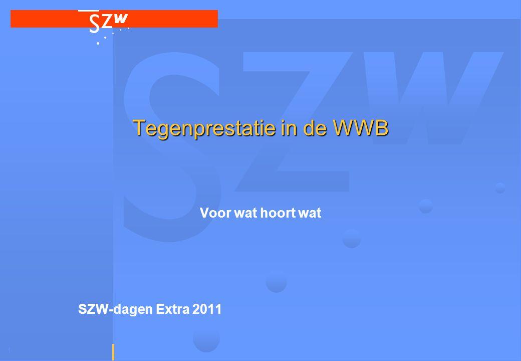1 Tegenprestatie in de WWB Voor wat hoort wat SZW-dagen Extra 2011