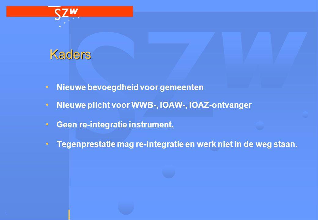 3 Kaders Nieuwe bevoegdheid voor gemeenten Nieuwe plicht voor WWB-, IOAW-, IOAZ-ontvanger Geen re-integratie instrument.