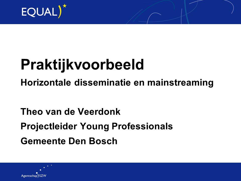 Praktijkvoorbeeld Horizontale disseminatie en mainstreaming Theo van de Veerdonk Projectleider Young Professionals Gemeente Den Bosch