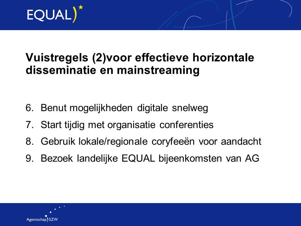 Vuistregels (2)voor effectieve horizontale disseminatie en mainstreaming 6.Benut mogelijkheden digitale snelweg 7.Start tijdig met organisatie confere