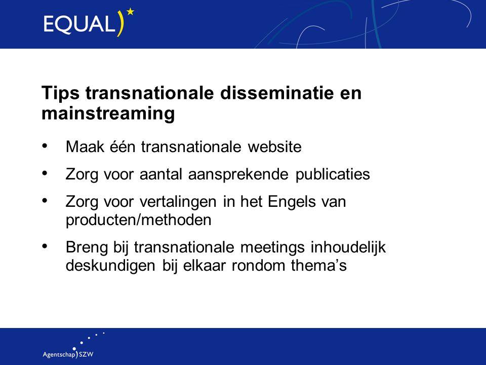 Tips transnationale disseminatie en mainstreaming Maak één transnationale website Zorg voor aantal aansprekende publicaties Zorg voor vertalingen in h