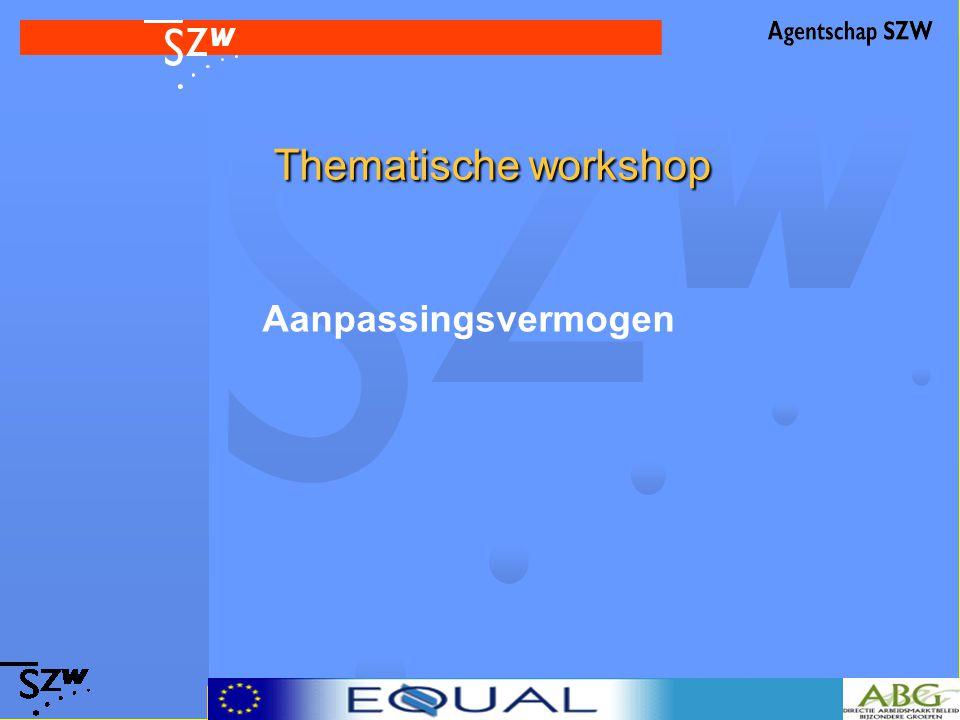 Thematische workshop Thematische workshop Aanpassingsvermogen