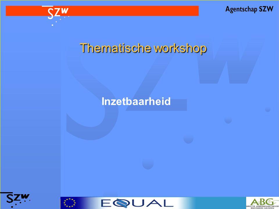 Thematische workshop Thematische workshop Inzetbaarheid