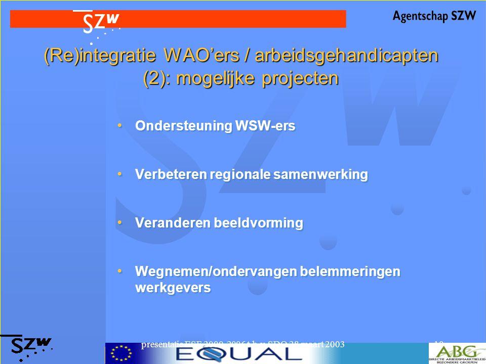 presentatie ESF 2000-2006 t.b.v. SDO 28 maart 200310 (Re)integratie WAO'ers / arbeidsgehandicapten (2): mogelijke projecten Ondersteuning WSW-ers Verb