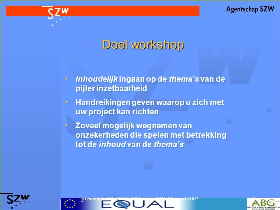 presentatie ESF 2000-2006 t.b.v. SDO 28 maart 20032 Doel workshop Inhoudelijk ingaan op de thema's van de pijler inzetbaarheid Handreikingen geven waa