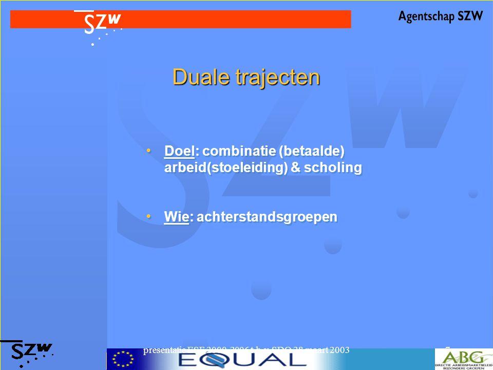 presentatie ESF 2000-2006 t.b.v. SDO 28 maart 20037 Duale trajecten Doel: combinatie (betaalde) arbeid(stoeleiding) & scholing Wie: achterstandsgroepe