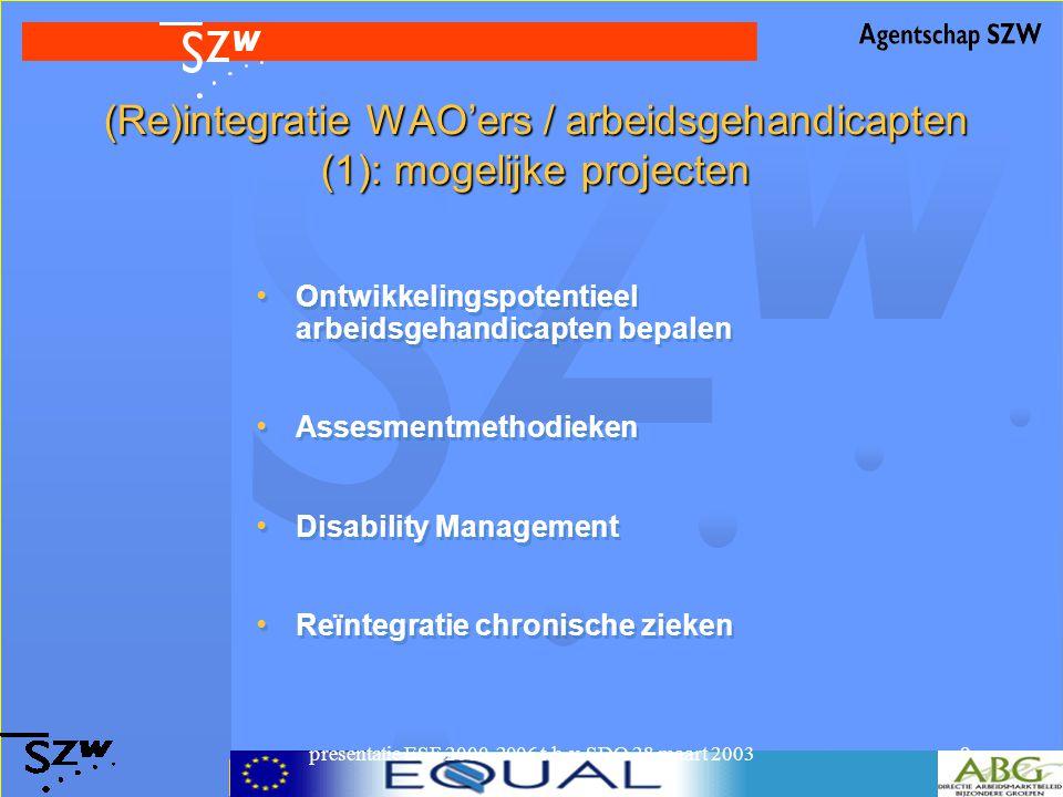 presentatie ESF 2000-2006 t.b.v. SDO 28 maart 20039 (Re)integratie WAO'ers / arbeidsgehandicapten (1): mogelijke projecten Ontwikkelingspotentieel arb
