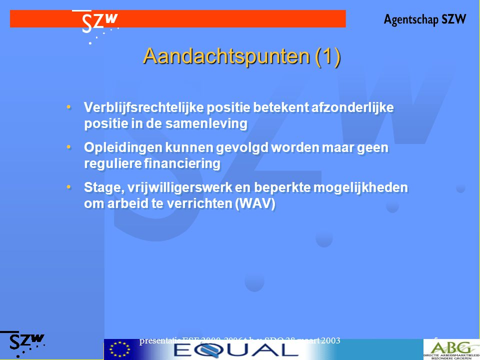presentatie ESF 2000-2006 t.b.v. SDO 28 maart 20035 Aandachtspunten (1) Verblijfsrechtelijke positie betekent afzonderlijke positie in de samenleving