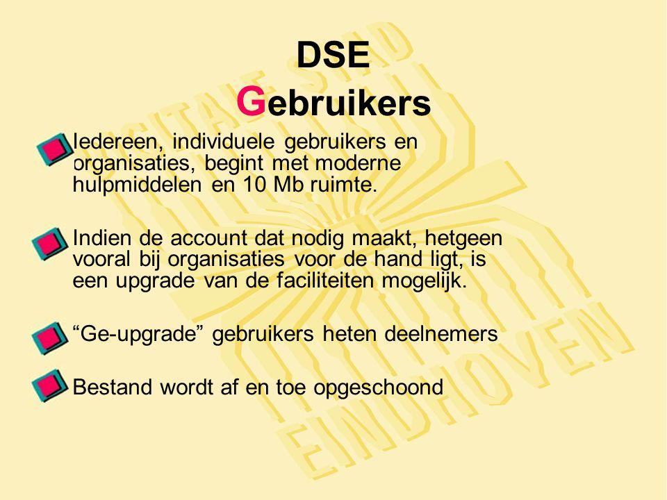 DSE G ebruikers Iedereen, individuele gebruikers en organisaties, begint met moderne hulpmiddelen en 10 Mb ruimte.
