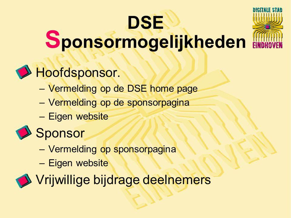 DSE S ponsormogelijkheden Hoofdsponsor.