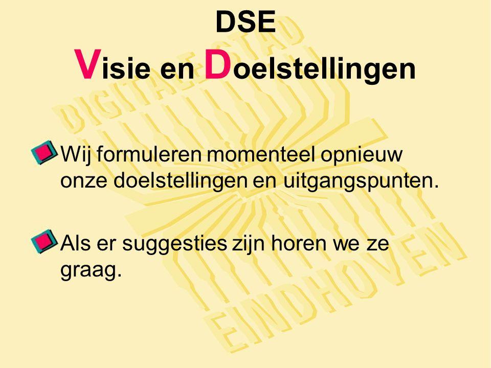 DSE V isie en D oelstellingen Wij formuleren momenteel opnieuw onze doelstellingen en uitgangspunten.