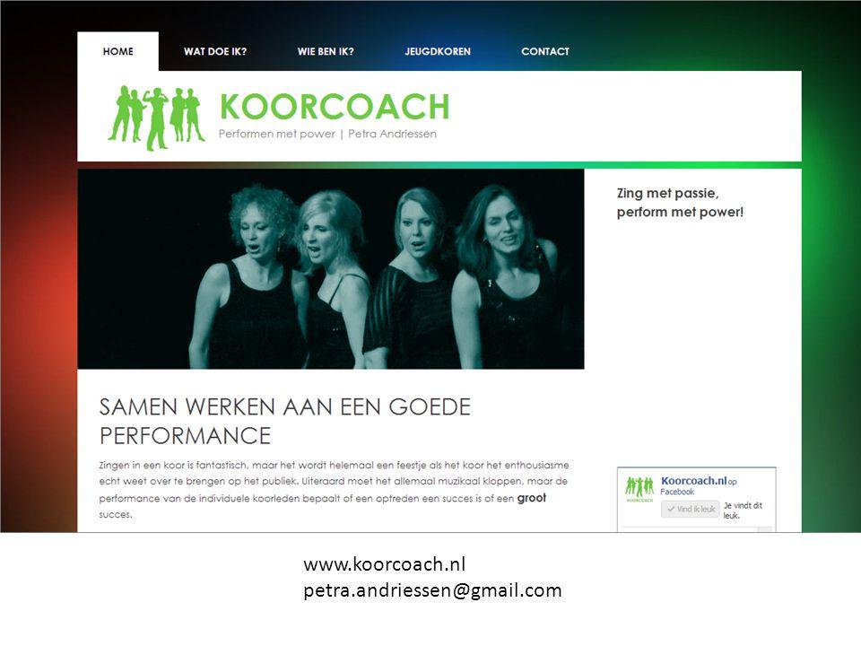 Opdracht bestuursvergadering: Maak eens een discussiestuk over -Imago -Reputatie -Doelen - Identiteit -Presentatie www.koorcoach.nl petra.andriessen@gmail.com