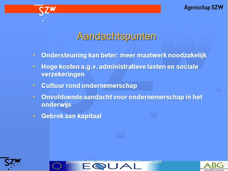 presentatie ESF 2000-2006 t.b.v. SDO 28 maart 20035 Aandachtspunten Ondersteuning kan beter: meer maatwerk noodzakelijk Hoge kosten a.g.v. administrat