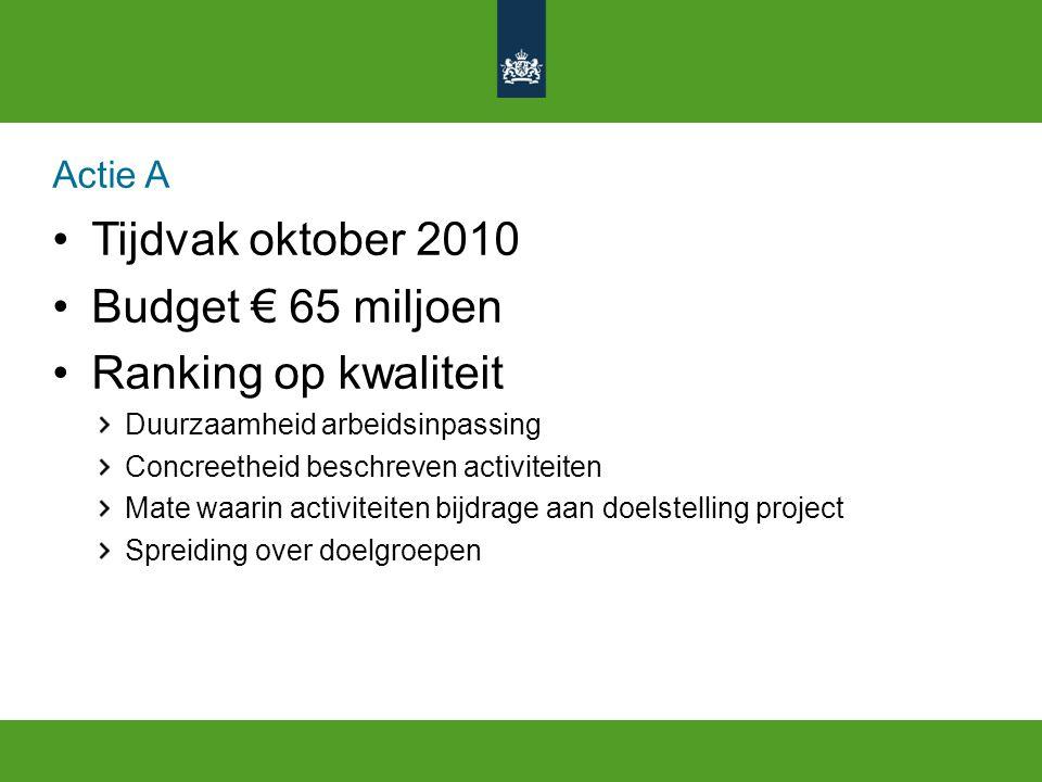 Actie A Tijdvak oktober 2010 Budget € 65 miljoen Ranking op kwaliteit Duurzaamheid arbeidsinpassing Concreetheid beschreven activiteiten Mate waarin a