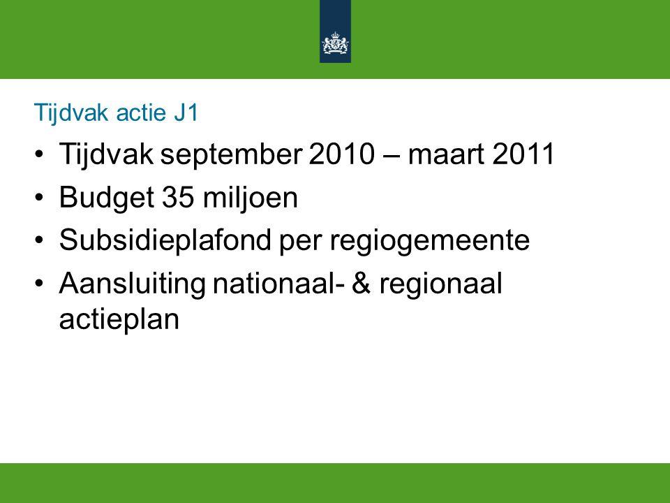 Tijdvak actie J1 Tijdvak september 2010 – maart 2011 Budget 35 miljoen Subsidieplafond per regiogemeente Aansluiting nationaal- & regionaal actieplan