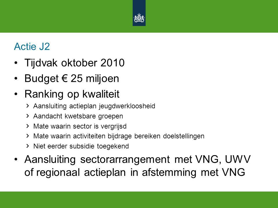 Actie J2 Tijdvak oktober 2010 Budget € 25 miljoen Ranking op kwaliteit Aansluiting actieplan jeugdwerkloosheid Aandacht kwetsbare groepen Mate waarin sector is vergrijsd Mate waarin activiteiten bijdrage bereiken doelstellingen Niet eerder subsidie toegekend Aansluiting sectorarrangement met VNG, UWV of regionaal actieplan in afstemming met VNG