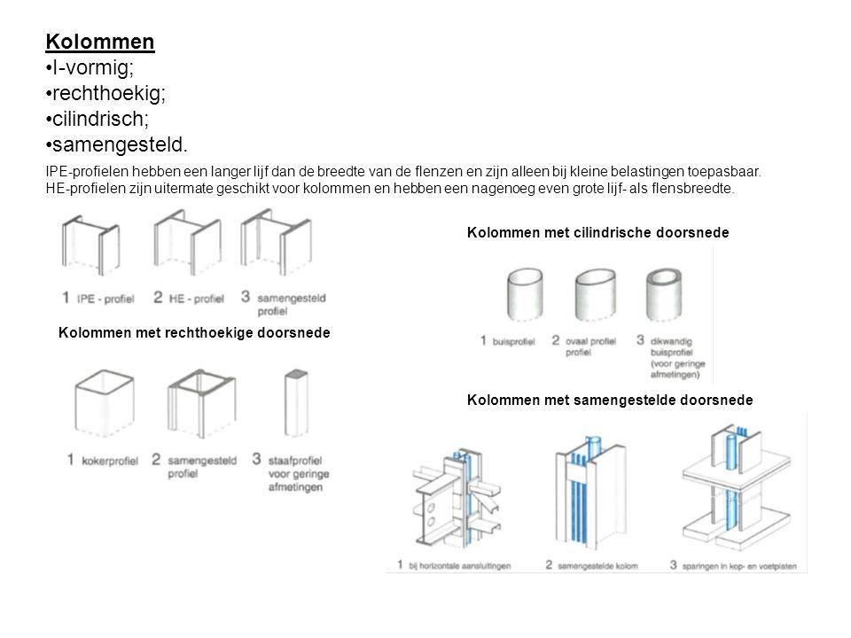 Kolommen I-vormig; rechthoekig; cilindrisch; samengesteld. IPE-profielen hebben een langer lijf dan de breedte van de flenzen en zijn alleen bij klein
